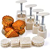 CultinBox Mid-Autumn Festival Hand-Pressure Moon Cake Mould With 12 Pcs White Mode Pattern For 4 Sets