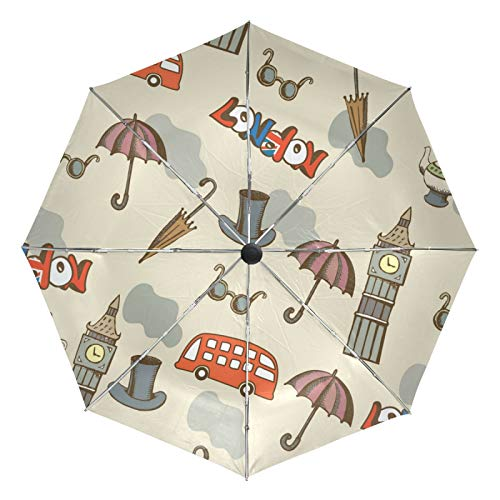 Small Travel Umbrella Windproof Outdoor Rain Sun UV Auto Compact 3 Folds Umbrellas Cover - Tea Pot Sunglasses Big Ben