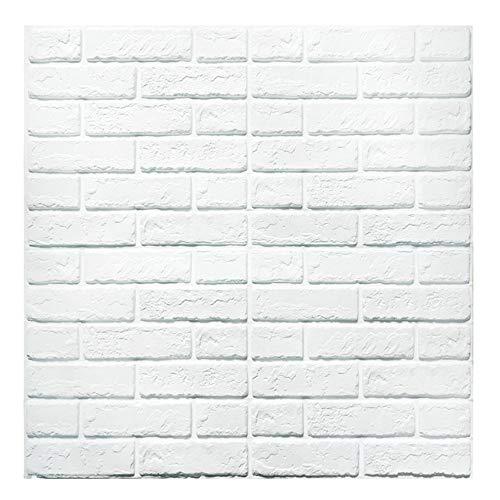 Papel tapiz de ladrillo 3D, repique extraíble y pegatina de pared de espuma PE para sala de estar sq ft 3.875/pcs (nuevo estilo 5 Piezas Blancas)