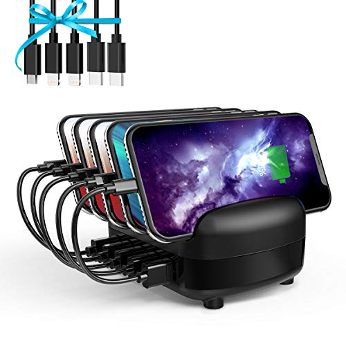 Charging Station for Multiple Devices Fast USB Charging Dock Station Organizer with USB Ports for iPhone, iPad, Samsung, Android Phone, Tablet (ETL Certified) (5 USB Ports - Black)