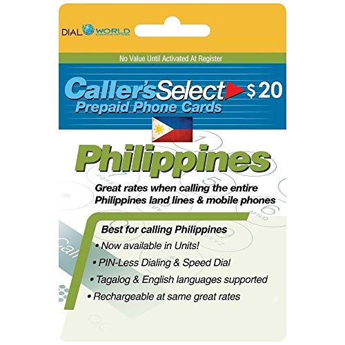 $20 Caller's Select Philippines Phone Calling Card for Cheap Calls to The Philippines. Get up to 360 Units to Call Filipino Landlines and 280 Units to Call Cellphones.