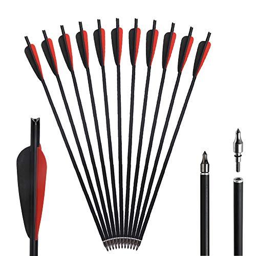 Huntingdoor 12er Pack 20zoll Armbrustpfeile Bogenschießen Armbrustbolzen Bolzen Carbonpfeile Jagdpfeile für Armbrust (Rot-Schwarz Vanes)