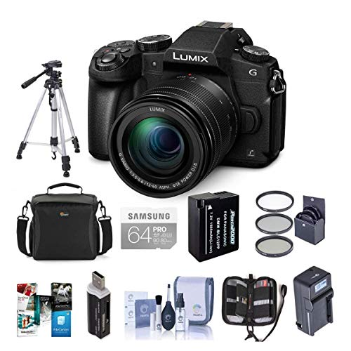 Panasonic Lumix DMC-G85 Mirrorless Camera with 12-60mm F/3.5-5.6 Lumix G Vario Power OIS Lens, Black - Bundle with 64GB SDXC Card, Spare Battery, Tripod, Compact Charger, Software Pack and More