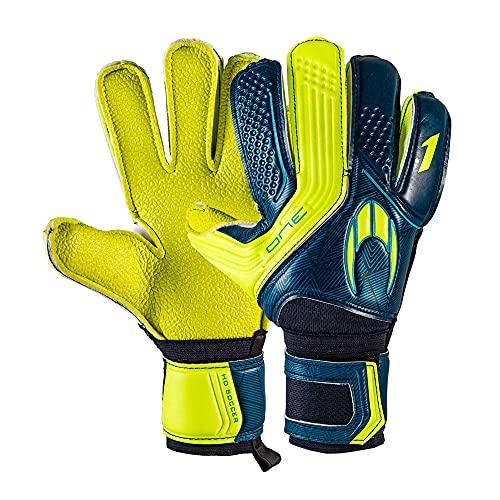 Ho Soccer One Flat Robuste Torwarthandschuhe, Unisex, Erwachsene, Blau/Limette, 8