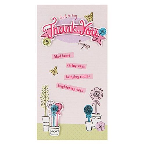 Hallmark bedankkaart, Engelse opschrift, sterrendesign, middelgroot, dun bloempot