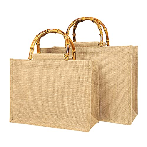 Tibroni Borsa per la Spesa Portatile, Borsa Portatile in Iuta Naturale Borsa Juta Manici Bambu,Perfetto per shopping, picnic, regali, viaggi, spiaggia