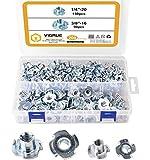 VIGRUE 200Pezzi T-Nuts semicircolare nel kit di assortimento di dadi con scanalatura a T scorrevole per Mobili per la Lavorazione del Legno