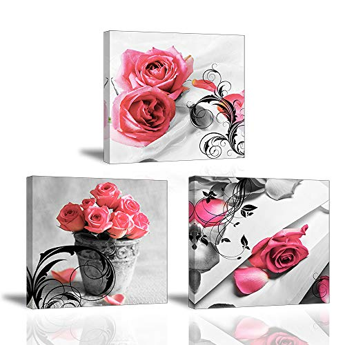 Piy Painting 3X Impresiones de Lienzo en Flores Rosas Símbolo de Amor