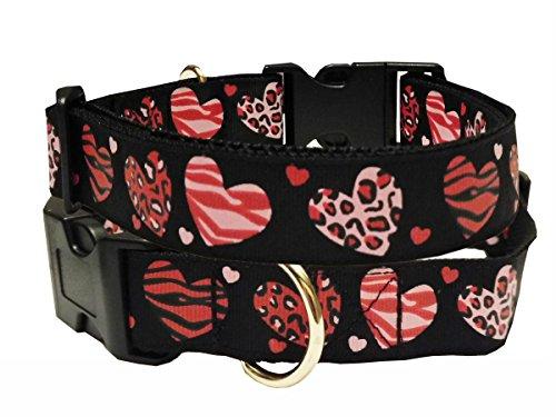 Halsband Hund Herzen LOVE schwarz Nylon Hundehalsband Halsung Band Schnalle 38 - 53 cm x 2,5 cm