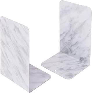 Bookends Pair Nonskid Heavy Metal Durable Sturdy Strong Books Organizer Telephone Booth Bookshelf Decor Decorative Bedroom Library Office School Supplies Stationery Gift (Marble)