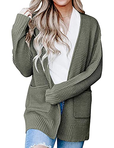 ZESICA Women's Long Sleeve Open Front Waffle Knit Sweater Cardigans Coat Outwear with Pockets Army Green