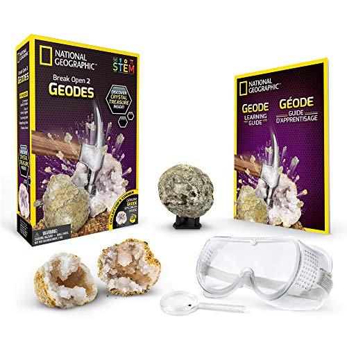 National Geographic Juego de exploración de geodas,, Abrir 2 geodas y Explorar Cristales