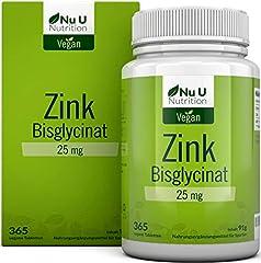 Zink | 365 zinktabletter i årlig försörjning | 25mg biotillgängligt zinkbisglycitapp (zinkkelat) | Högdos- och veganska zinktabletter utan tillsatser | Laboratorietestad | Tillverkad i Tyskland av Nu U Nutrition