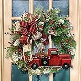 Weihnachtskranz Tür außen Deko 40CM,Weihnachtsmann Türkranz Adventskranz Schneemann Weihnachten Kranz Dekokranz Hängende Wand Verzierung Weihnachtskugelnkranz Fenster Dekoration Weihnachts Zubehör
