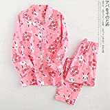 wsxcfyjh Pijamas Camisón Conjunto De Pijama para Amantes del Algodón De Gasa A Cuadros Frescos para Mujeres Y Hombres, Ropa De Dormir Informal De Manga Larga, Pijamas para Mujeres XL Womenrabbitpink2
