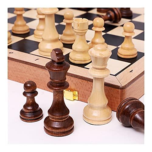 Flystoo Juego de ajedrez de Madera Plegable Conjunto de ajedrez Grande para Trabajar a Mano sólido Maderas de Madera, Juego de ajedrez, Juego de Mesa de Viaje para Adultos