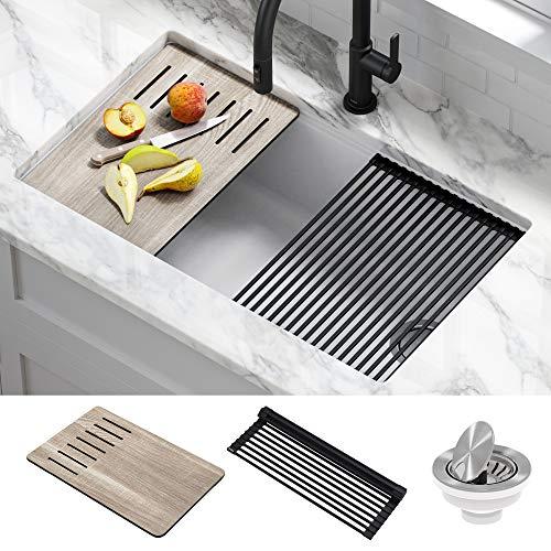 Kraus KGUW1-33WH Bellucci Workstation Undermount Granite Composite Single Bowl Kitchen Sink with Accessories, White