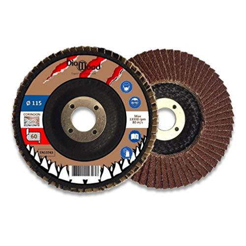 Disco lamellare per metallo e legno - D. 115 x Al. 22,23 x Grana 60 corindone - 5 pezzi- Diamwood