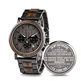 Engraved Personalized Wooden Watch for Boyfriend Customized Wooden Watches for Men Birthday Personalized Watch (A-for-Boyfriend)
