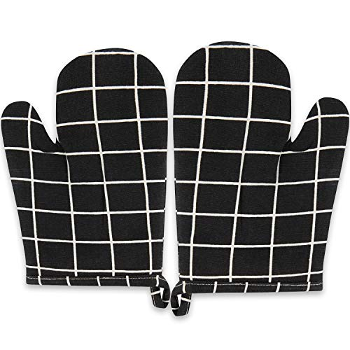 Sophie Nordinn ® Ofenhandschuhe Gitter schwarz - Hitzebeständig Kochhandschuhe (2er Set) - Grillhandschuhe - Hochwertige Topflappen - Waschmaschinentaugliche Topfhandschuhe - Backofenhandschuhe