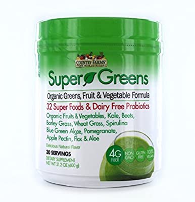 Country Farms Whole Food Sourced All in One Super Greens Supplement Powder Drink Mix Natural Flavor, Vegan and Keto Friendly, White & Green, 21.2 Oz by Windmill Health Products