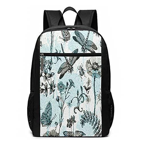 Mochila escolar de verano con plantas botánicas de insectos 44, bolsa de libros universitarios para viajes de negocios, mochila informal para hombres, mujeres, adolescentes y niñas