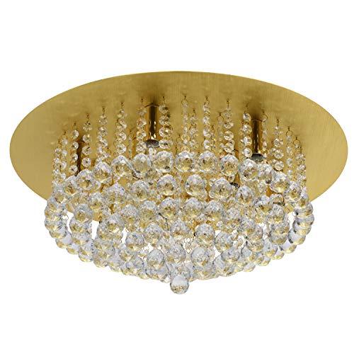 MW-Light 276014509 Jugendstil Deckenleuchte Modern Klares Kristall Rund Metall Aluminum Goldfarbig Chrom Fassung E14