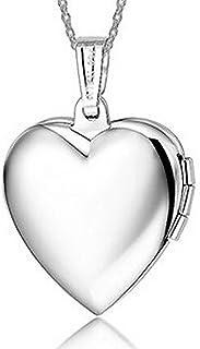 IXIQI - Collar con colgante de titanio bañado en plata con
