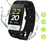 obqo Montre Connectée Femmes Homme Smartwatch Fitness Tracker d'Activité avec Cardiofréquencemètres Moniteur de Sommeil,Réveil,Notifications,Bluetooth Podomètre Étanche IP67 pour iOS Android (Noir)