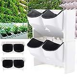 Kaibrite 8 macetas con sistema de riego automático, apilables, verticales, para pared, para casa, pared, balcón, jardín, macetas, agujeros de drenaje para flores, frutas y verduras
