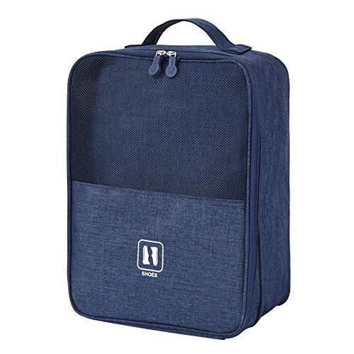 YIFULY 2021 Black Gray Portable Shoe Bag for travel Waterproof storage organizer Fashion suitcase Organizers travel Shoes Storage Bag (Color : Navy blue)