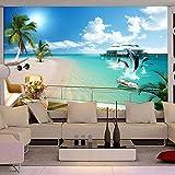 JJXBBL Fondo de pantalla de fotos 3D Playa de palma 3D Mar Egeo sala de estar sofá TV telón de fondo pared Hotel mediterráneo papel tapiz mural para vestíbulo-(300 x 210) cm