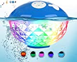 Best Waterproof IP68 Floating Bluetooth Pool Speaker with Colorful Led Lights, 50ft Range Floatable Wireless Swimmer Speaker, Built-in Mic for Party Home Travel