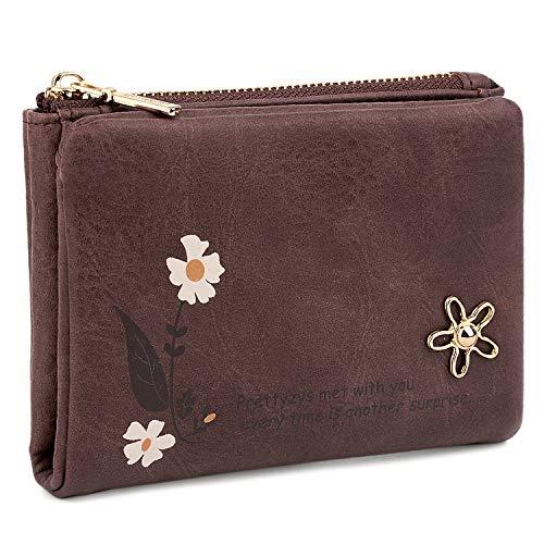 UTO Geldbörse Damen Kleine Brieftasche PU Leder Blume Kartenhalter Organizer Reißverschluss Münze Nette Lila