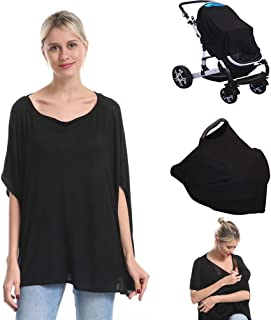 Nursing Breastfeeding Cover Car Seat Canopy for Infant Baby, Soft Bamboo Jersey, Extremely Stretchy, All-in-one Convertible Carseat Stroller Cover, Multi Use Nursing Cover Up Poncho Tops Clothes Black