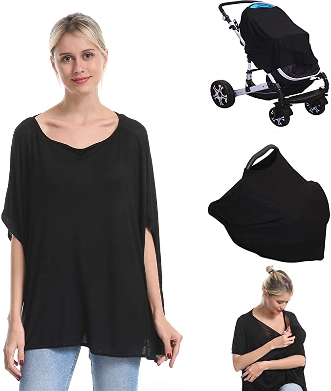 Nursing Breastfeeding Cover Car Seat Canopy For Infant Baby Soft Bamboo Jersey Extremely Stretchy All In One Convertible Carseat Stroller Cover Multi Use Nursing Cover Up Poncho Tops Clothes Black