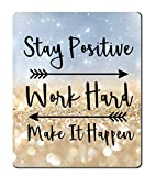 Amcove Gaming Mouse Pad Custom, Stay Positive Work Hard and Make It Happen Inspirational Quotes Mouse pad Art Twinkled Glitter Black Quote