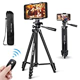 Phone Tripod, UBeesize 50'' Extendable Lightweight Aluminum Tripod Stand with Universal Cell Phone/Tablet