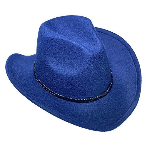 COMVIP Sombrero de vaquero de fieltro de ala ancha para mujer y hombre, estilo salvaje occidental, sheriff, rancher, jazz, fedora, panamá, trilby