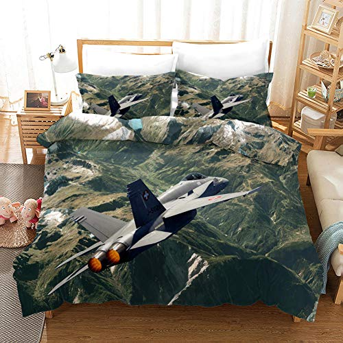 NHBTGH Printed Duvet Cover Double Size Green Polyester Bedding Set with Zipper Closure Quilt Cover Set+2 Pillowcases Easy Care Anti-Allergic Soft & Smooth Apply to Boy Girl Bedroom Airplane