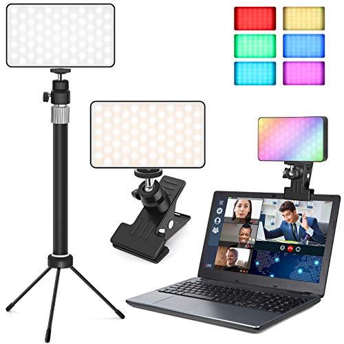 Videokonferenz Licht, Kangtaixin LED Ringlicht Laptop Monitor Licht mit Clip und Stativ, Webcam Beleuchtung Videokonferenz für Zoom Anrufbeleuchtung, Fernarbeit, Live-Streaming, YouTube