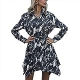 Moda para Mujer Casual con Cuello En V Estampado TeñIdo Anudado Vendaje Cintura Dobladillo Irregular Manga Larga Slim-Fit Vestido Corto Tipo Camisa para Mujer