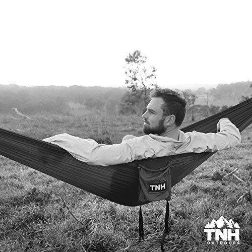 TNH Outdoors Rakaia Designs Double & Single Camping Hammocks - Lightweight Nylon Portable Hammock, Best Parachute Hammock for Backpacking, Camping, Hiking, Beach with Free Heavy Duty Carabiner Clips
