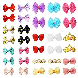 pony princess Dog Bows Hair Accessories with Clip Pet Grooming Products Puppy Small Bowknot Handmade Mix Styles Small Middle Hair Bows Topknot 32PCS/16Pairs (3) …