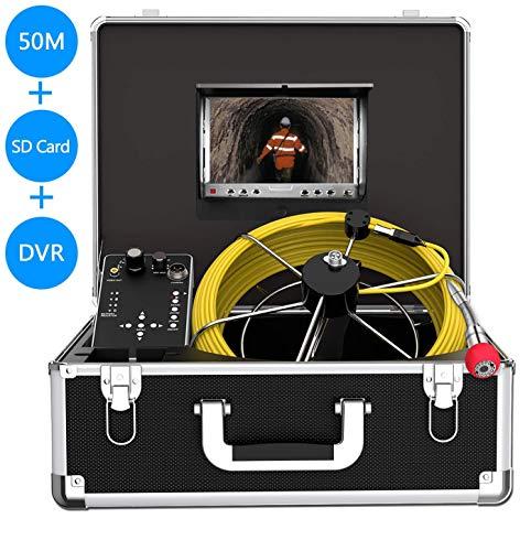 Rohr-Inspektionskamera, Endoskop Schlange Wasserfest IP68 Kamera, mit 50m Kabel für Techniker/Mechaniker/Klempner mit 7 Zoll LCD-Monitor 1000TVL DVR Recorder (8G SD-Karte inklusive)