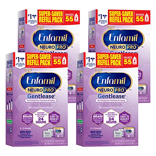 Enfamil NeuroPro Gentlease Baby Formula, Brain and Immune Support with DHA, Clinically Proven to Reduce Fussiness, Crying, Gas & Spit-up in 24 Hours, Non-GMO, Powder Refill Box, 30.4 Oz (Pack of 4)