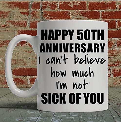 Taza de café para hombre de 50 años de regalo para el marido 50 aniversario regalo boda aniversario cincuenta años divertido taza de café para él
