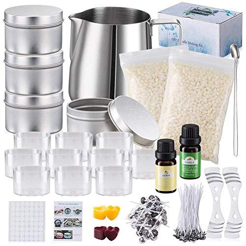 Kit de fabricación de velas, kit para hacer velas con 50 núcleos de cera largos, 20 núcleos de cera corta, 10 tarros de plástico para velas, manual de usuario , 2 x 120 g de cera de abeja