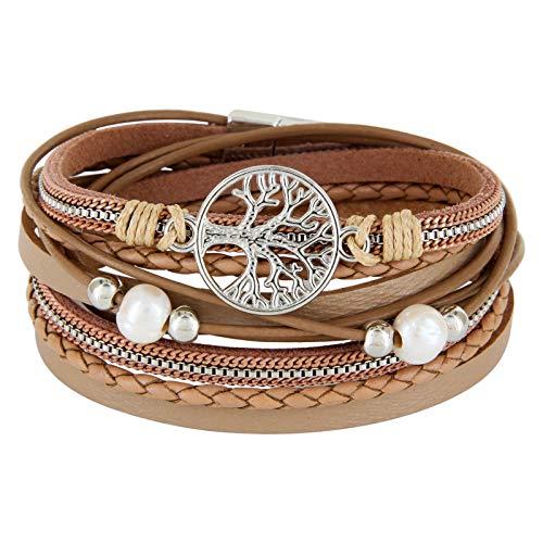 StarAppeal Wickelarmband mit Perlen, Ketten, Flechtelement und Lebensbaum Anhänger, Magnetverschluss Silber, Damen Armband (Hellbraun)