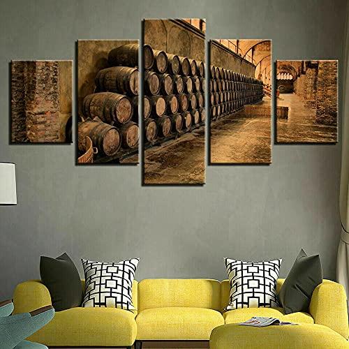 QQWW 5 Piezas Cuadro sobre Lienzo- Barriles de Vino de Bodega Vintage Impresión Artística Imagen Gráfica-5 Piezas-Impresión en Lienzo Listo para Colgar-en un Marco,Moderna decoración del hogar